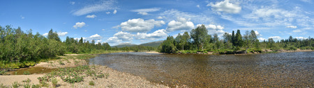 River panorama in the national Park Yugyd VA. The object of the world natural heritage site Virgin Komi forests.