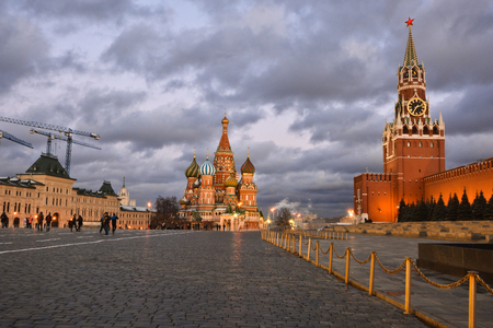 Red Square of Moscow. The historical center of the Russian capital at night. Stock Photo