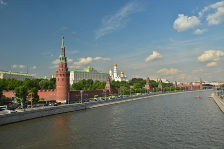 Moscow river and the Moscow Kremlin. City landscape of the Russian capital.