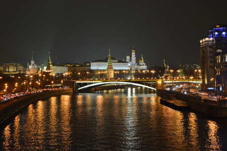 Moscow river and the Moscow Kremlin. City landscape of the Russian capital at night. Stock Photo