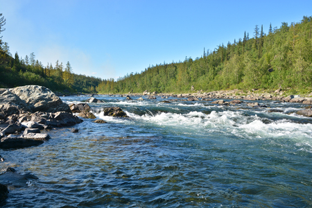The rapids on a Northern river. Rapid water landscape in the Polar Urals.