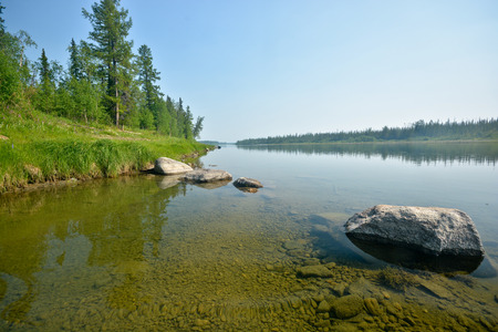 urals: River in the Polar Urals. Summer water landscape of northern nature. Stock Photo