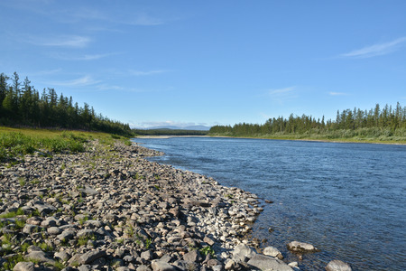 Summer in the Polar Urals, the river Sob. Northern water landscape. Stock Photo