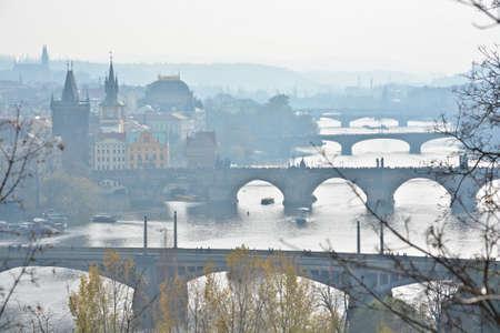 Prague, bridges over the Vltava. City landscape of the capital of the Czech Republic.