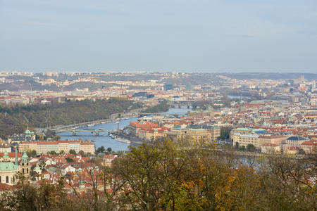 Panorama of Prague. View of the capital of the Czech Republic from the observation platform.The Vltava River. Stock Photo