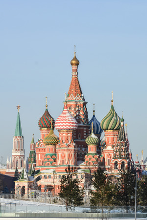 St. Basils Cathedral. The main building on Red Square near the Moscow Kremlin. Stock Photo