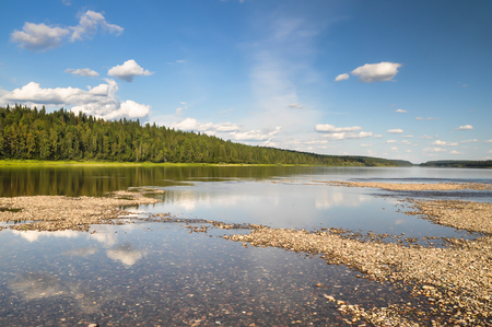Virgin Komi forests, picturesque banks of the river Shchugor. Stock Photo