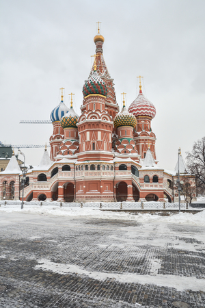Pokrovsky Cathedral on Red Square in Moscow.  St. Basils Cathedral in the winter capital of Russia.