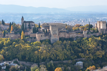 Alhambra in November. Granada, Andalusia. Fortress in southern Spain