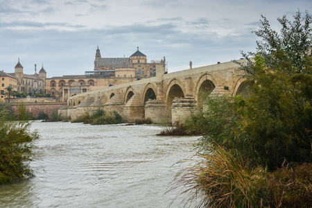 Roman bridge over the Guadalquivir and Mesquite in Cordoba. Autumn landscape of Spain, sights of Andalusia. 版權商用圖片