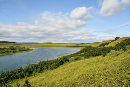 PIKE river in the natural Park of Polar Urals. Summer tundra landscape on the Yamal Peninsula.