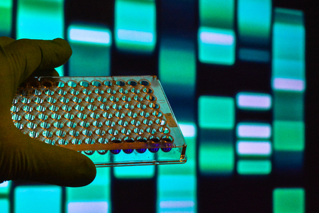 DNA testing. Well plate on the background of electrophoregram. Reklamní fotografie