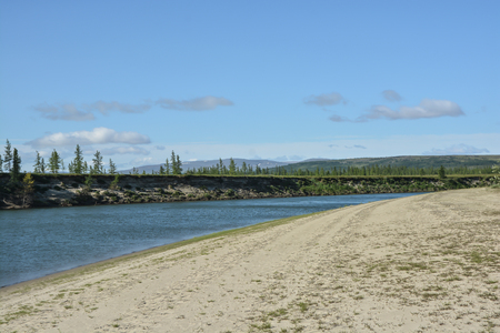 Landscape of the peninsula of Yamal. The Shchuchya River in the Polar-Uralsky Nature Park.