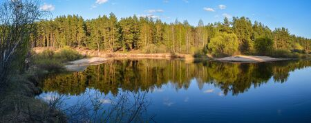 Panorama of the spring forest river. May in the National Park Meschersky, Ryazan region of Russia.
