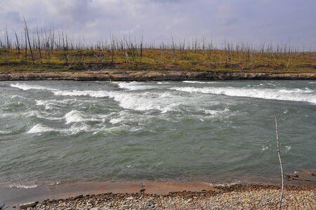 The rapid on the Putorana plateau. The threshold on the North river.