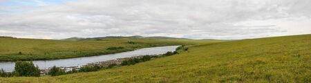 Panorama of the river in the natural Park on Taimyr. Summer landscape in the polar Urals.