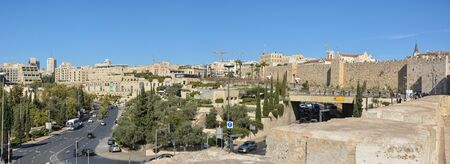 Panorama of Jerusalem, the walls of the Old city. Urban landscape, what tourists see. Stock Photo