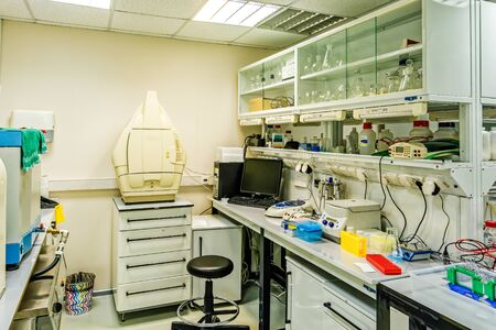 Research laboratory. Interior of a modern chemical and biological research laboratory. Stock Photo