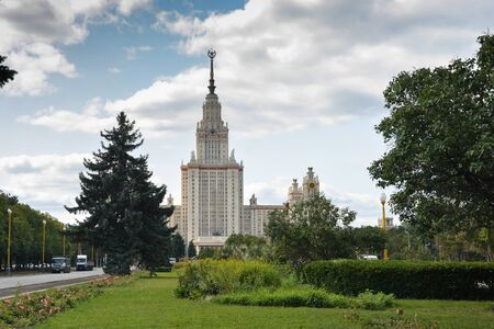 The main building of Moscow State University. High-rise building in Moscow.