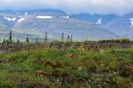 Mountains on the Putorana Plateau. Summer landscape in the north of Siberia.