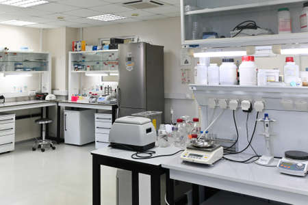 In a scientific biological laboratory. Laboratory room with furniture and instruments.