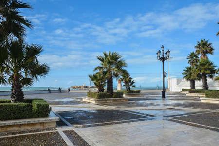 Through the streets of Cadiz. View of the Spanish city on the Atlantic coast.