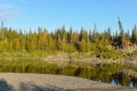 Summer river landscape. Northern taiga deserted river. 版權商用圖片