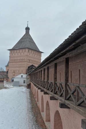 The walls of the monastery in Suzdal. Golden ring of Russia, early spring.
