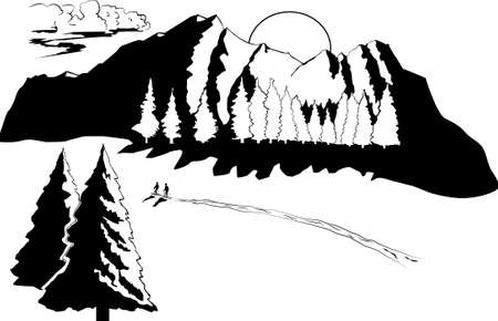 travelers on the background of winter mountains and forests