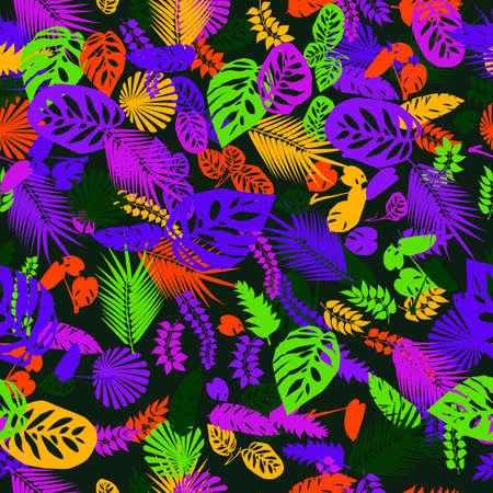 seamless abstract pattern of variegated tropical leaves