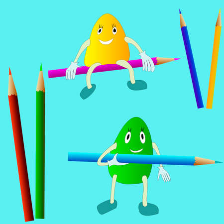 vector image of colored pencils for children