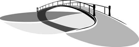 bridge over the river black and white vector image
