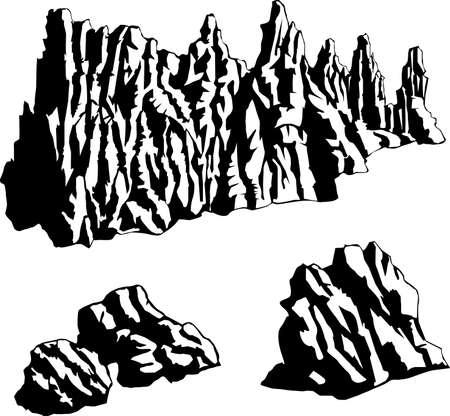 vector illustration of a rock formation Çizim