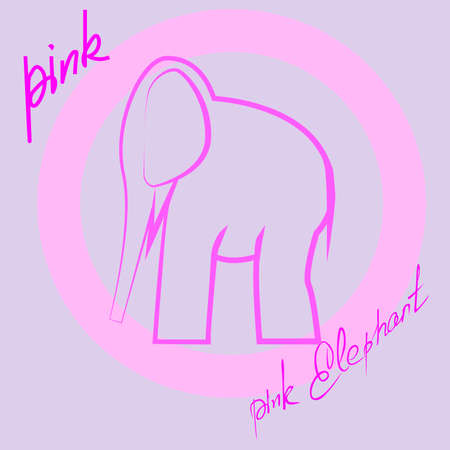 vector illustration depicting a pink elephant and the inscription pink elephant
