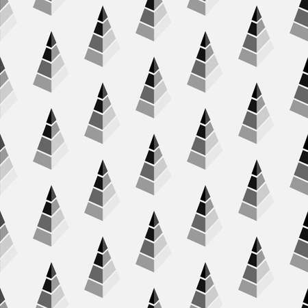 seamless geometric pattern of pyramids divided into segments in black and white colors