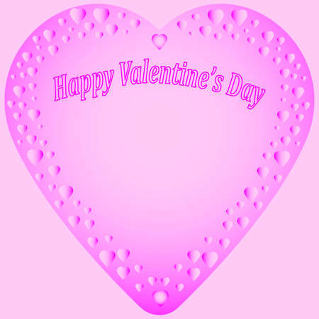 vector background image in the form of a frame in the shape of a heart for greeting text in pink colors