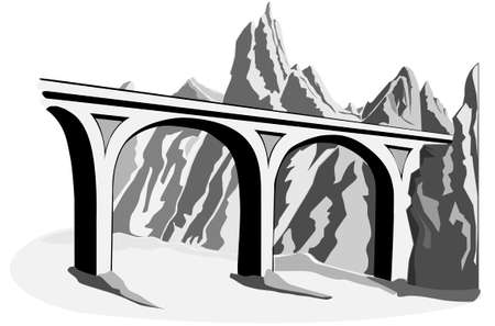 old bridge viaduct in the mountains vector image in grayscale