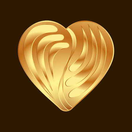 vector volumetric image of a golden heart with an ornament inside Vettoriali