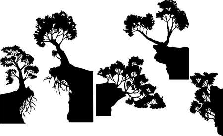 set of vector images of silhouettes of various trees with partially protruding roots 向量圖像