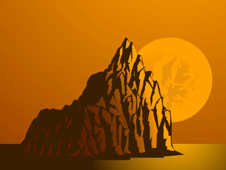 moon protruding from the mountains, vector illustration in orange tones 向量圖像