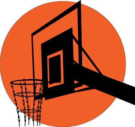 silhouette of a basketball backboard on the background of the ball Vektorové ilustrace