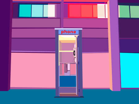 illustration depicting a telephone booth against the background of a colorful building