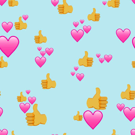 seamless vector pattern of approving hand signs and hearts for social media and wall and fabric prints Standard-Bild - 167144022