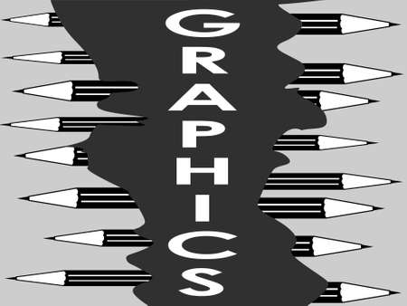 abstract black and white pattern with shades of gray depicting the word graphics and pencils