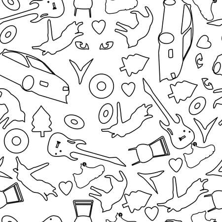seamless abstract background consisting of various objects, as well as animals in black and white for fabrics and packaging  イラスト・ベクター素材