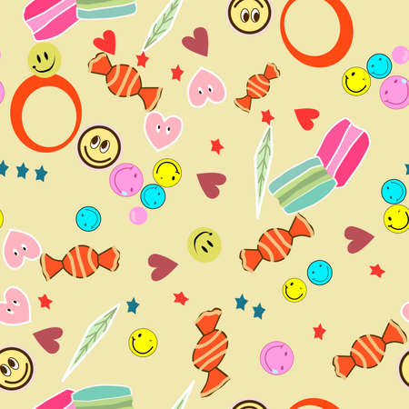 seamless pattern consisting of colorful stars and hearts, as well as sweets and other delicious food for printing on fabric and interior decoration for children