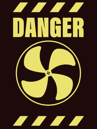 vector illustration symbolizing rotating elements with propeller blades and warning message in black and yellow colors