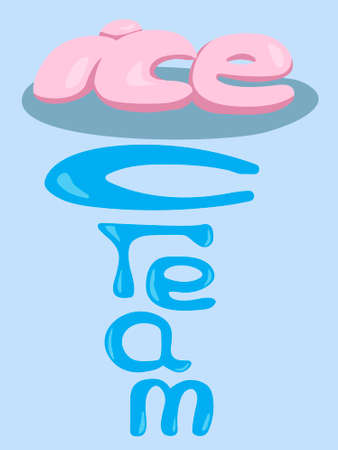 vector illustration depicting the words ice cream in the shape of the product style in pink-blue shades