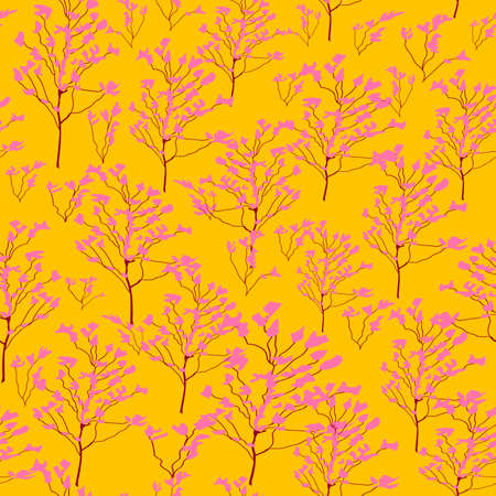 seamless pattern with the image of pink flowering branches on a yellow background for prints on fabric and for interior decoration  イラスト・ベクター素材