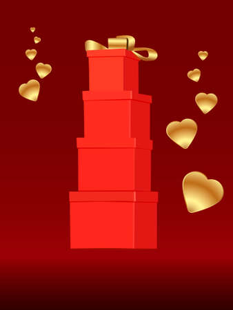 set of red gift boxes standing on top of each other on a dark red background surrounded by golden hearts vector illustration for greeting cards
